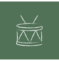 Drum with sticks icon drawn in chalk vector