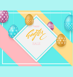 easter sale background colorful easter eggs vector image