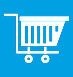 Empty plastic market trolley icon white vector