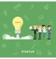 Entrepreneurs maintain launching startup concept vector