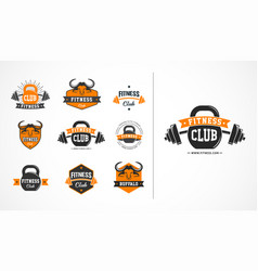fitness club or gym logo emblem icons vector image