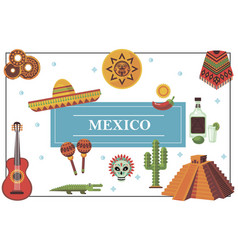 flat mexico elements colorful concept vector image