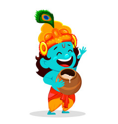 Funny cartoon character lord krishna vector