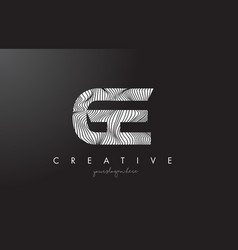 Ge g e letter logo with zebra lines texture vector
