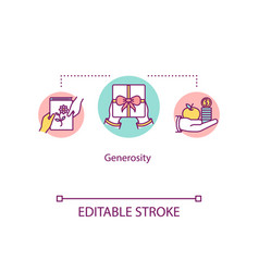 Generosity concept icon giving presents donation vector