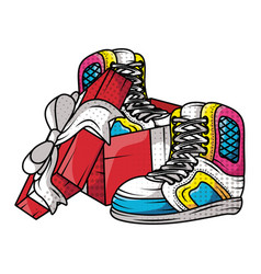 gift with tennis sport shoes pop art style vector image