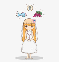 girl first communion with host wafer and fish vector image