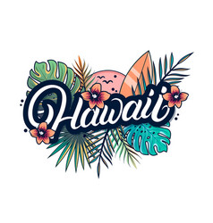 hawaii hand written lettering vector image