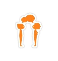 Icon sticker realistic design on paper boys talk vector