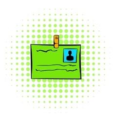 Identification card icon comics style vector