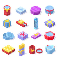 isometric party celebration gift 3d cardboard vector image