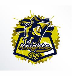 logo emblem sticker badge a knight galloping vector image