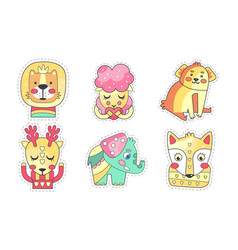 lovely different animals collection cute colorful vector image