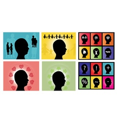 Male head silhouettes set vector