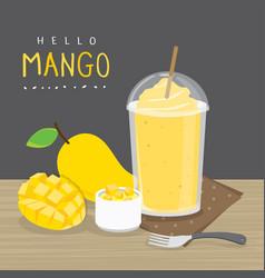 mango juicy fruit summer cartoon vector image