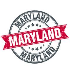 Maryland red round grunge vintage ribbon stamp vector
