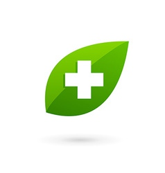Medical eco logo icon design template with cross vector