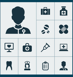 medicine icons set collection of diagnosis vector image vector image