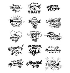 memorial day lettering set vector image