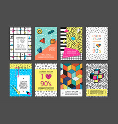 Memphis cards with geometric elements vector