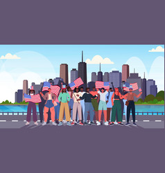 mix race people crowd holding usa flags vector image
