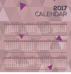 Modern Abstract 2017 Printable Calendar vector image