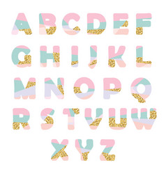 Modern abstract font with glitter creative abc vector
