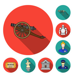 Museum and gallery flat icons in set collection vector