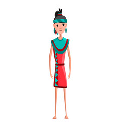 native american tribe member in traditional indian vector image