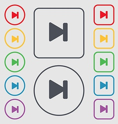Next track icon sign symbol on the Round and vector