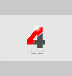 Number 4 in grey red color for logo icon design vector