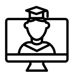 Online educationa line icon student on monitor vector