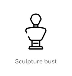 Outline sculpture bust icon isolated black simple vector