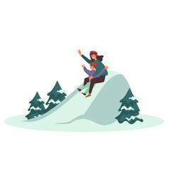 Parent with kid sliding downhill from snowy slope vector