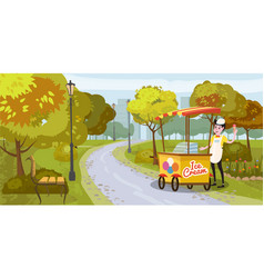 park seller and cart with ice cream seller vector image
