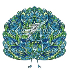 peacock vintage fantasy bird with floral ornament vector image