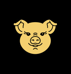 Pig icon golden head piggy on a black baclground vector