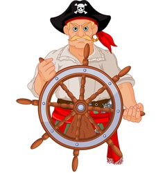 pirate at wheel vector image