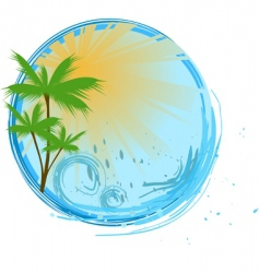 Round blue banner with palm vector