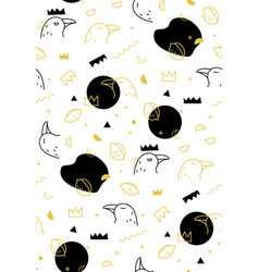 seamless pattern raven on white vector image
