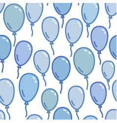seamless pattern with blue balloons naive and vector image