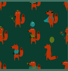 Seamless pattern with orange fox vector