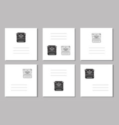 set 6 creative covers or universal cards with vector image