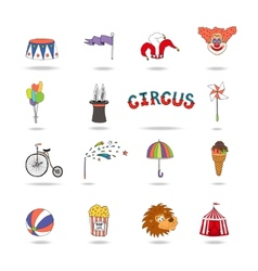 set colorful circus icons vector image