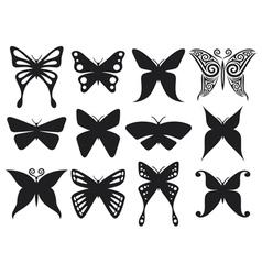 Set of butterflies silhouettes vector