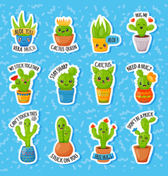 set of cute cartoon cactus and succulents with vector image