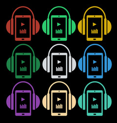 set of music icons - headphones with player vector image
