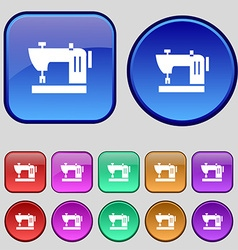 Sewing machine icon sign A set of twelve vintage vector image