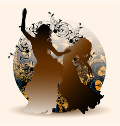 Silhouettes oriental dance vector
