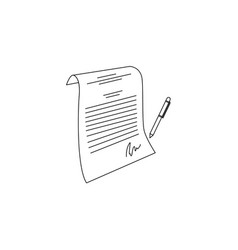 sketch contract paper document with pen vector image